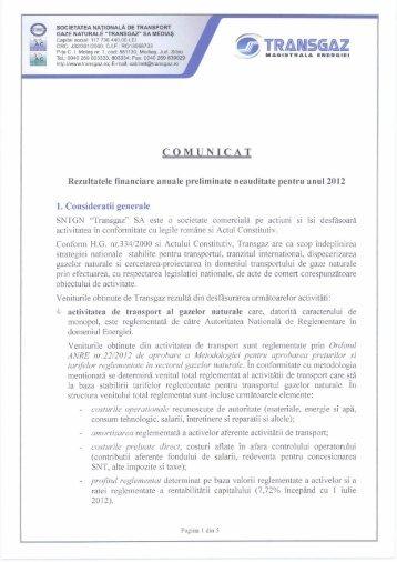 Comunicat rezultate preliminate - Transgaz
