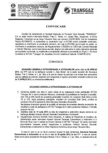 CONVOCARE - Transgaz