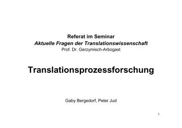 Translationsprozessforschung - Translation Concepts