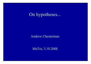 Kinds of hypotheses