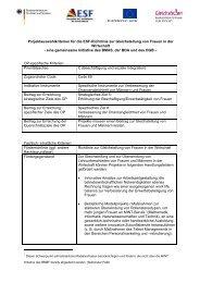 Projektauswahlkriterien für die Esf-Richtlinie zur Gleichstellung von ...
