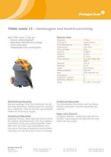 TASKI vento 15 – Dammsugare med ... - Orange Clean AB