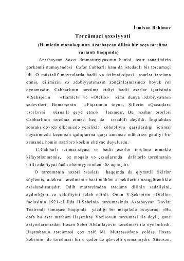Tərcüməçi şəxsiyyəti (Hamletin monoloqunun Azərbaycan dilinə bir ...