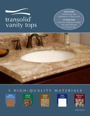 QuiCk Ship Solid Surface Vanity tops - Transolid