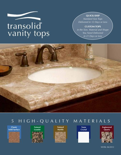 Quick Ship Solid Surface Vanity Tops