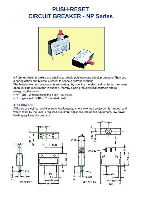 [SCHEMATICS_4ER]  Push-reset circuit breaker - NP series - Cliff | Reset Circuit Breaker Wiring Diagram |  | Yumpu