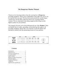 The Dangerous Monitor Manual - Dangerous Music