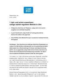 1 Jahr und schon erwachsen: car2go startet regulären Betrieb in Ulm