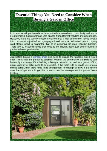 Essential Things You Need to Consider When Buying a Garden Office