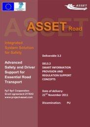 ASSET Deliverable 3.2, Smart Information Provision And Regulation ...