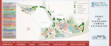 Universidad de Playa Ancha - Plano de zonas de seguridad campus Valparaíso
