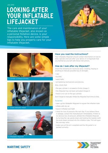 Looking after your inflatable lifejacket - Transport Safety Victoria