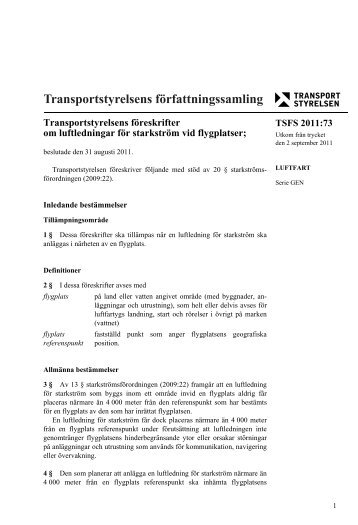 TSFS 2011:73 - Transportstyrelsen