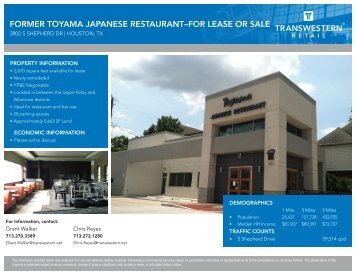 former toyama japanese restaurant–for lease or sale - Transwestern