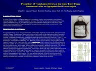 Prevention of Transfusion Errors at the Order Entry Phase