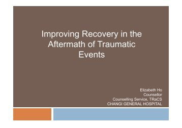 Improving Recovery in the Aftermath of Traumatic Events