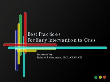 Dr Rick Ottenstein: Best Practices for Early Intervention to Crisis