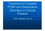 Treatment of Complex PTSD and Dissociative Disorders in Clinical ...