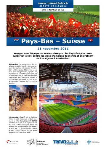 Pays-Bas – Suisse - Travelclub