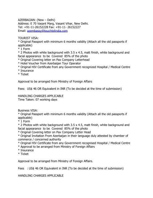 Azerbaijan New Delhi Address E 70 Vasant Travelport