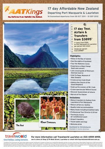 17 day Affordable New Zealand Departing Port ... - Travelworld
