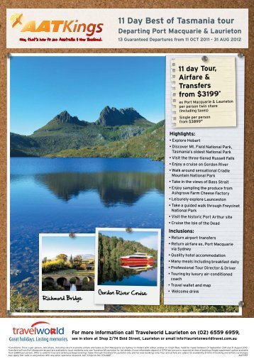 11 Day Best of Tasmania tour Departing Port ... - Travelworld