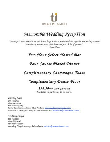 Memorable Wedding RECEPtiON - Treasure Island