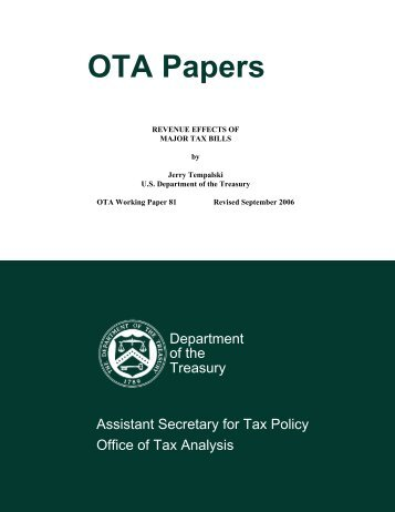 Revenue Effects of Major Tax Bills - Department of the Treasury