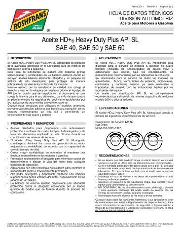 Aceite HD+® Heavy Duty Plus API SL SAE 40, SAE 50 y ... -  Roshfrans