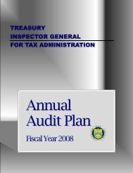 Annual Audit Plan - FY 2008 - Department of the Treasury