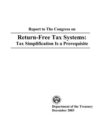 Report To The Congress On Return Free Tax Systems