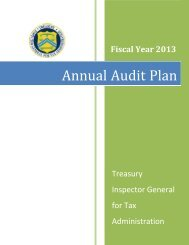 FY 2013 Annual Audit Plan - Department of the Treasury