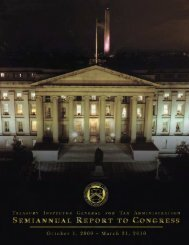 TIGTA Semiannual Report to Congress - Department of the Treasury