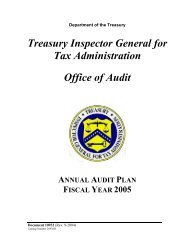 Annual Audit Plan -- FY2005 - Department of the Treasury