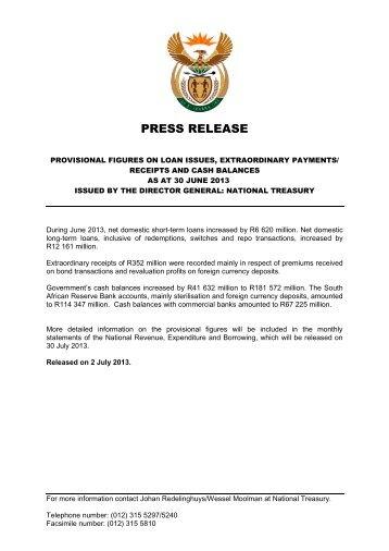 Provisional Financing Figures as at 30 June 2013 - National Treasury