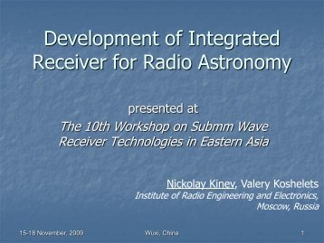 Development of Integrated Receiver for Radio Astronomy