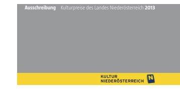 Ausschreibung Kulturpreise des Landes Niederösterreich 2013