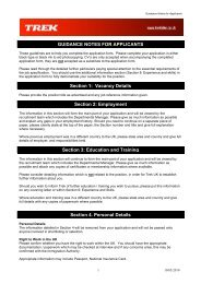 TREK GUIDANCE NOTES FOR APPLICANTS - May 2010