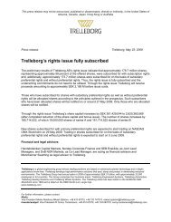 Trelleborg's rights issue fully subscribed