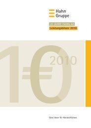 20 JAHRE HAHN AG Leistungsbilanz 2010 - Hahn Gruppe