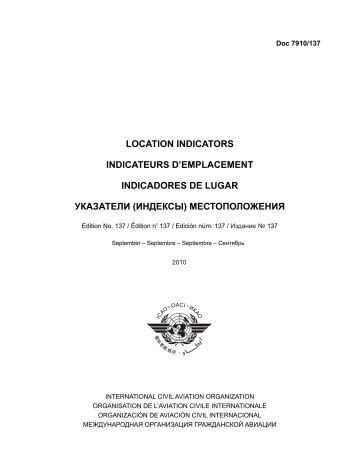 LOCATION INDICATORS INDICATEURS D'EMPLACEMENT ...