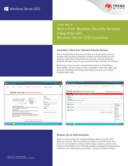 Solution Brief: Worry-Free Business Security Services
