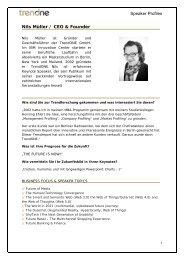 Speaker Profiles Nils Müller / CEO & Founder - TrendONE
