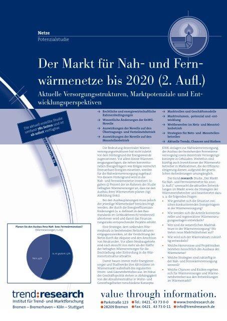 Der Markt für Nah- und Fern- wärmenetze bis 2020 ... - trend:research