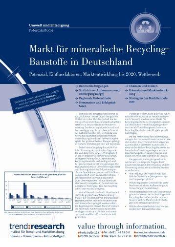 Markt für mineralische Recycling- Baustoffe in ... - trend:research