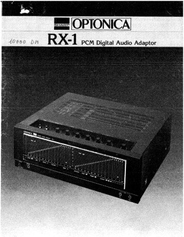 Sharp-Optonica - RX-1 - PCM Digital Audio Adaptor (user's manual).