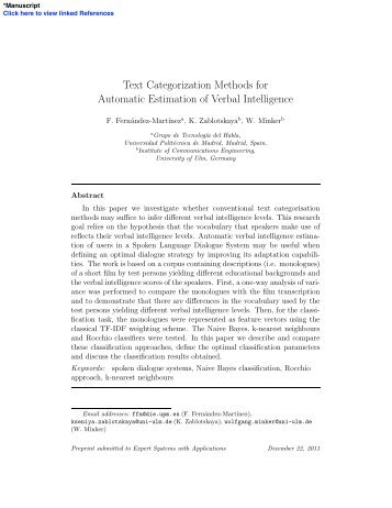 Text Categorization Methods for Automatic Estimation of Verbal ...