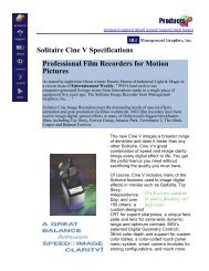 Solitaire Cine V Specifications Professional Film Recorders for ...