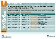 MODIFICHE CIRCOLAZIONE TRENI SETTEMBRE 2012 - Trenitalia