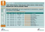 MODIFICHE CIRCOLAZIONE TRENI APRILE 2012 - Trenitalia